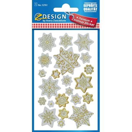 """AVERY Zweckform ZDesign Weihnachts-Sticker """"Sterne"""", weiß"""