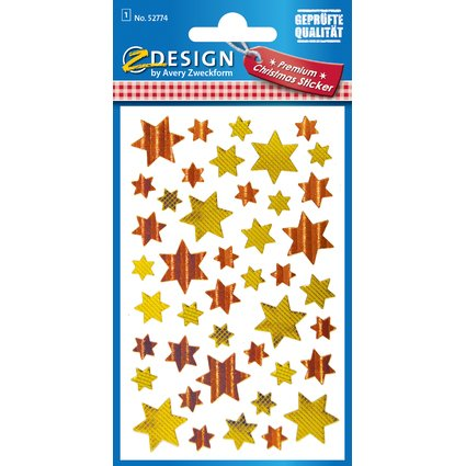 """AVERY Zweckform ZDesign Weihnachts-Sticker """"Sterne 6"""", gold"""