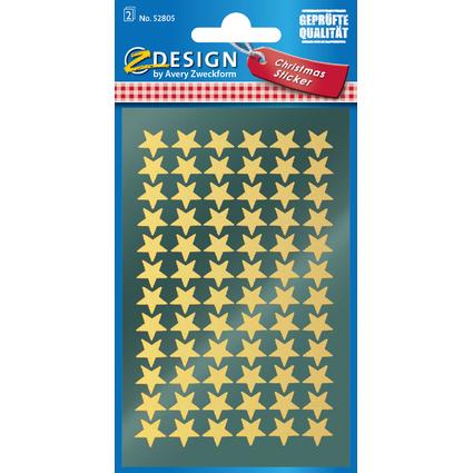 """AVERY Zweckform ZDesign Weihnachts-Sticker """"Sterne"""", gold"""
