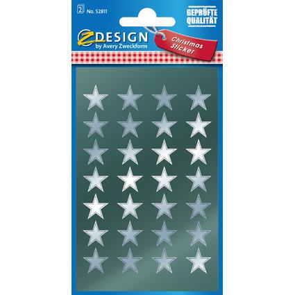 """AVERY Zweckform ZDesign Weihnachts-Sticker """"Sterne"""", silber"""