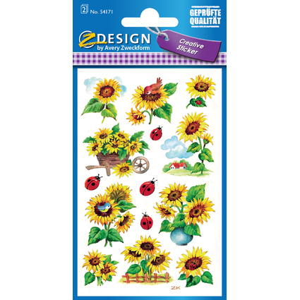 AVERY Zweckform Z-Design Sticker Sonnenblumen & Marienkäfer