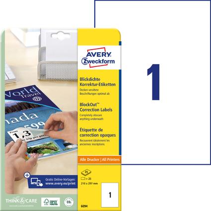 AVERY Zweckform Korrektur-/Abdeck-Etiketten, 210 x 297 mm