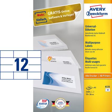 AVERY Zweckform Universal-Etiketten, 70 x 36 mm, weiß, A5