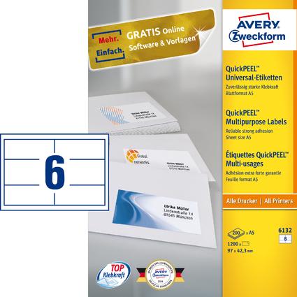 AVERY Zweckform Universal-Etiketten, 97 x 42,3 mm, weiß, A5