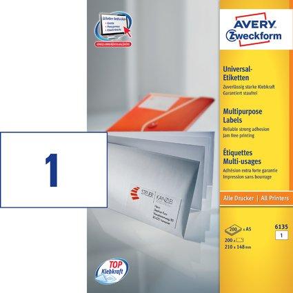 AVERY Zweckform Universal-Etiketten, 210 x 148 mm, weiß, A5