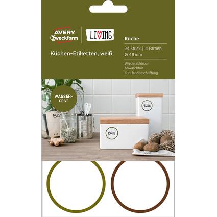 AVERY Zweckform LIVING Küchen-Etiketten, Durchmesser: 48 mm