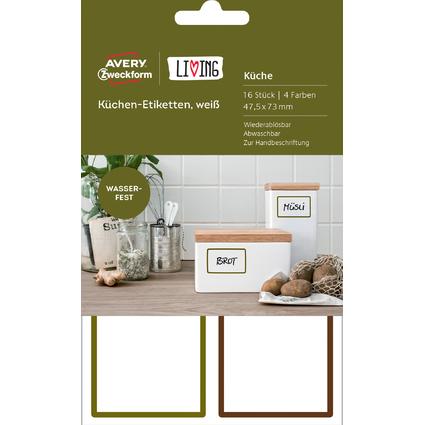 AVERY Zweckform LIVING Küchen-Etiketten, 47,5 x 73 mm