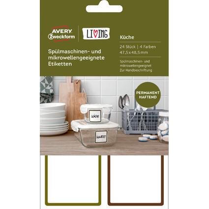 AVERY Zweckform LIVING Küchen-Etiketten, 47,5 x 48,5 mm