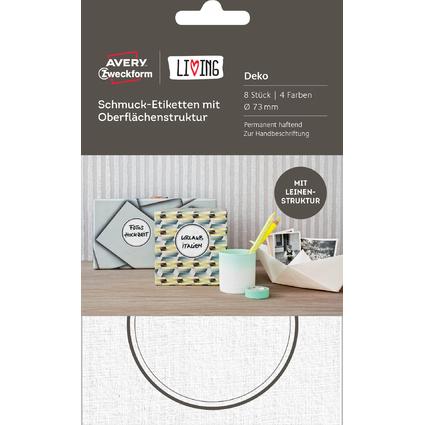 AVERY Zweckform LIVING Schmuck-Etiketten, Durchmesser: 73 mm
