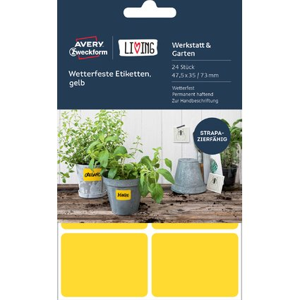 AVERY Zweckform LIVING Wetterfeste Etiketten, gelb