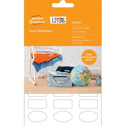 AVERY Zweckform LIVING Textil-Etiketten, weiß