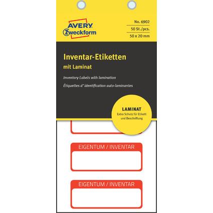AVERY Zweckform Inventar-Etiketten mit Laminat, rot