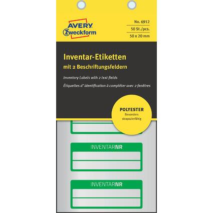 AVERY Zweckform Inventar-Etiketten, Polyester-Folie, grün
