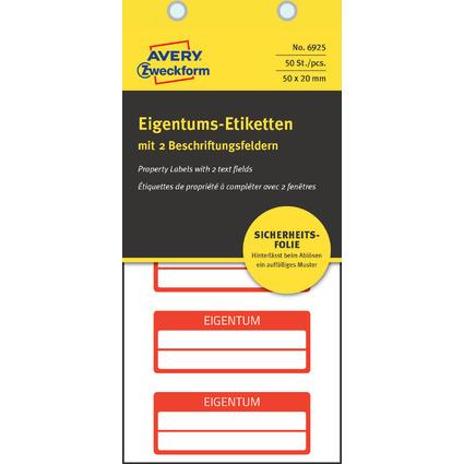 AVERY Zweckform Eigentums-Etiketten, 50 x 20 mm, rot