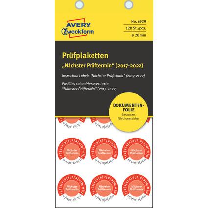 """AVERY Zweckform Prüfplaketten """"Nächster Prüftermin"""", 2017-22"""