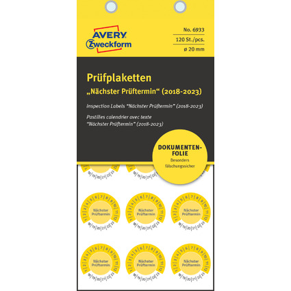 """AVERY Zweckform Prüfplaketten """"Nächster Prüftermin"""", 2018-23"""