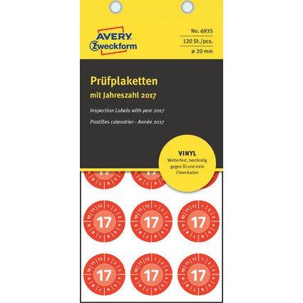 AVERY Zweckform Prüfplaketten, 2017, Vinyl, rot, 20 mm