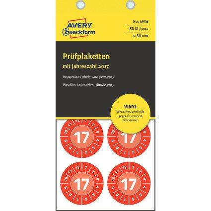 AVERY Zweckform Prüfplaketten, 2017, Vinyl, rot, 30 mm