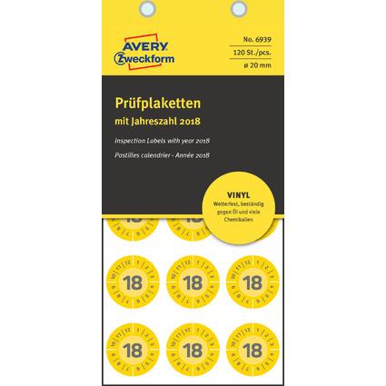 AVERY Zweckform Prüfplaketten, 2018, Vinyl, gelb, 20 mm