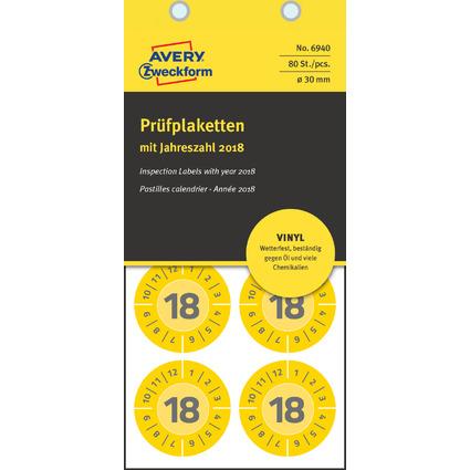 AVERY Zweckform Prüfplaketten, 2018, Vinyl, gelb, 30 mm