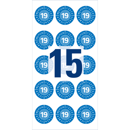 AVERY Zweckform Prüfplaketten, 2019, Vinyl, blau, 20 mm