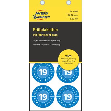 AVERY Zweckform Prüfplaketten, 2019, Vinyl, blau, 30 mm