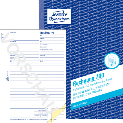 "AVERY Zweckform Formularbuch ""Rechnung"", A5, 3 x 50 Blatt"