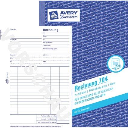 "AVERY Zweckform Formularbuch ""Rechnung"", A5, 2 x 50 Blatt"