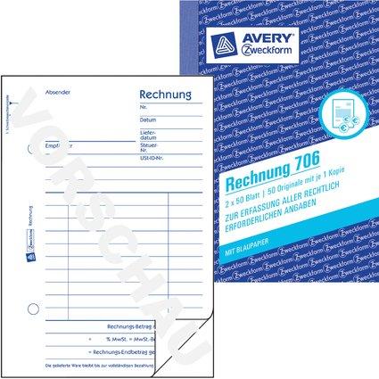 "AVERY Zweckform Formularbuch ""Rechnung"", A6, 2 x 50 Blatt"