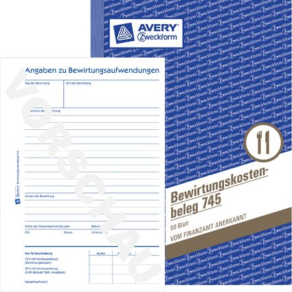 "AVERY Zweckform Formularbuch ""Bewirtungskosten-Beleg"", A5"