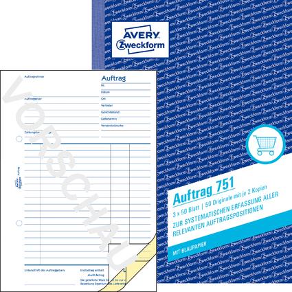 """AVERY Zweckform Formularbuch """"Auftrag"""", A5, 3 x 50 Blatt"""