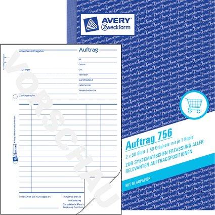 """AVERY Zweckform Formularbuch """"Auftrag"""", A5, 2 x 50 Blatt"""