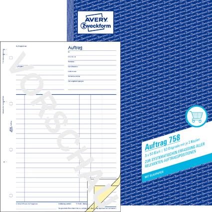 """AVERY Zweckform Formularbuch """"Auftrag"""", A4, 3 x 50 Blatt"""