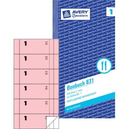 """AVERY Zweckform Formularbuch """"Bonbuch"""", 105 x 198 mm, rosa"""