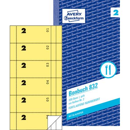 """AVERY Zweckform Formularbuch """"Bonbuch"""", 105 x 198 mm, gelb"""