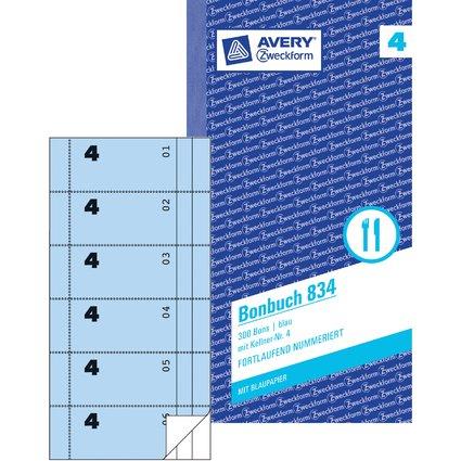 """AVERY Zweckform Formularbuch """"Bonbuch"""", 105 x 198 mm, blau"""
