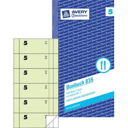 """AVERY Zweckform Formularbuch """"Bonbuch"""", 105 x 198 mm, grün"""