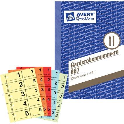 "AVERY Zweckform Formularbuch ""Garderobennummern"", 1-500, A6"