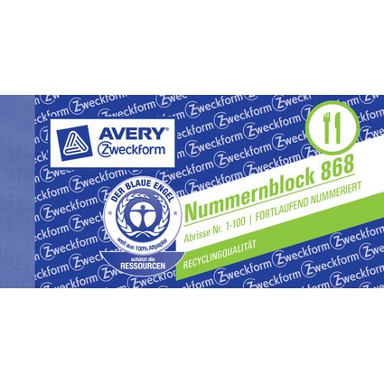 AVERY Zweckform Nummernblock 1 - 100, 105 x 53 mm, 5-farbig