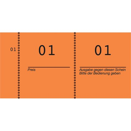 AVERY Zweckform Nummernblock 1 - 1000, 105 x 53 mm, orange