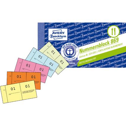 AVERY Zweckform Nummernblock 1 - 1000, 105 x 53 mm, 5-farbig