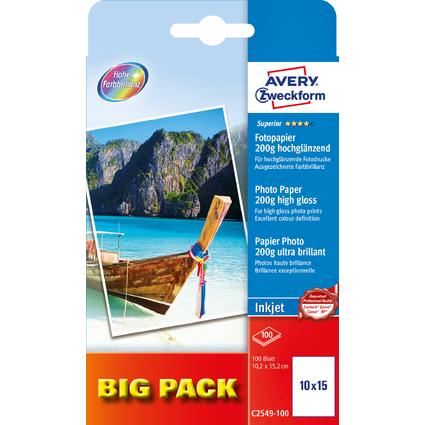 AVERY Zweckform BIG PACK Inkjet Foto-Papier, 10 x 15 cm