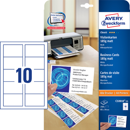 AVERY Zweckform Visitenkarten, 85 x 54 mm, weiß