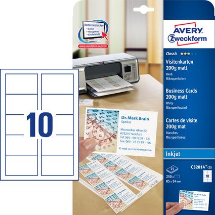 AVERY Zweckform Visitenkarten 85 x 54mm, Inkjet Beschichtung