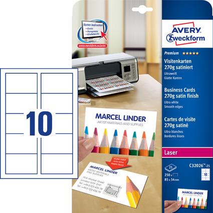 AVERY Zweckform Quick & Clean Visitenkarten, 25 Blatt