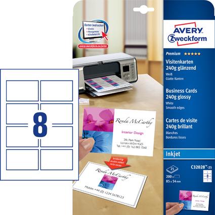 AVERY Zweckform Premium Visitenkarten, glänzend