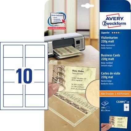 AVERY Zweckform Quick & Clean Visitenkarten, beige