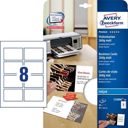 AVERY Zweckform Quick & Clean Visitenkarten, leinenstruktur