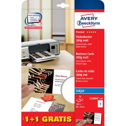 AVERY Zweckform Quick & Clean Visitenkarten, 1 + 1 gratis