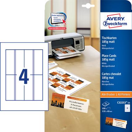 AVERY Zweckform Tischkarte Inkjet/Laser/Kopierer, 100 Stück